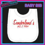 SUNDERLAND FOOTBALL WHITE BABY BIB EMBROIDERED